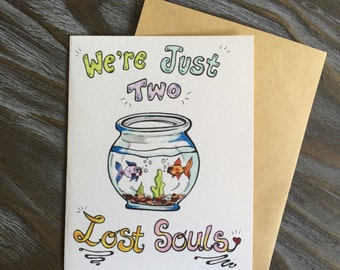 "Uniquely Hand Drawn Valentine's Pink Floyd ""Two Lost Souls"" Greeting Card - blank inside"