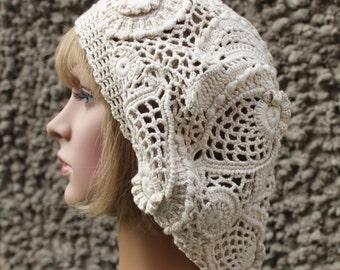 Crochet Cotton Beret Slouchy Hat, Ladies Fashion Hat, freeform, boho Freeform, spring beret