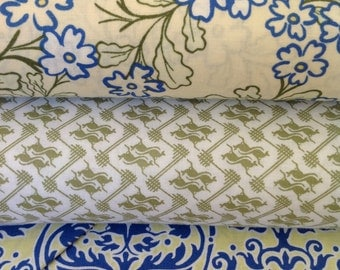 SALE Kangaroo Fabric, Roo by Wendy Slotbloom, for In The Beginning, Blue and Green Floral Fabric,  Half Yard Bundle,  Cut from the Bolt