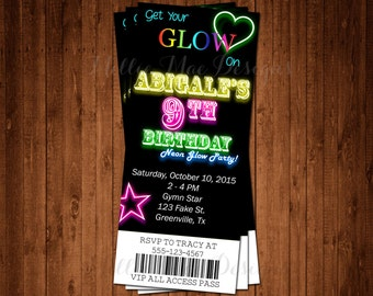 SALE 50% OFF Custom Glow In The Dark - Neon - Ticket - Party Invitation