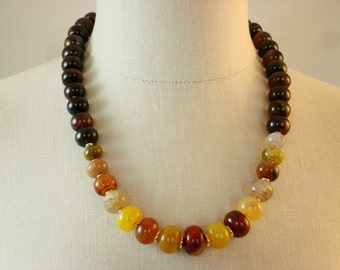 """The  bella """"AMBRA""""  womens necklace, a colorful mix of agate abacus rondelles beads and 14KT gold filled clasp, handmade necklace."""