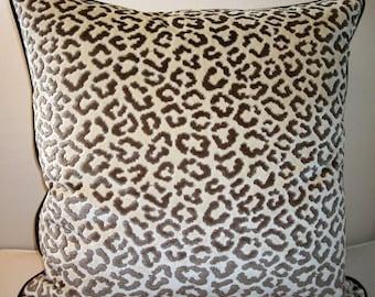 Pair Of Lee Jofa High End Leopard Velvet Pillows