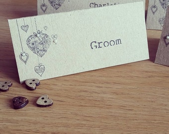 Love Heart Name Place Cards