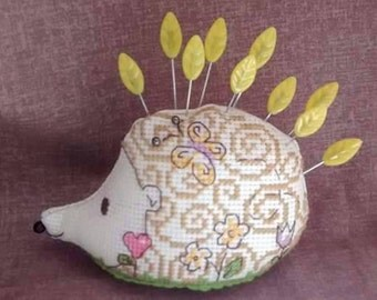Cute hedgehog pincushion - with leaf pins - hand sewn - autumn