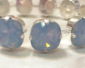 Swarovski Crystal 4470 12mm Air Blue Opal Cup Chain Tennis Bracelet