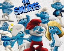 58 The Smurfs 3DClip art - INSTANT DOWNLOAD -FOR cards, scrapbooking,digital art, printing, birthdays, party decor,invitation