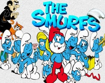 55 The Smurfs  Clip art -INSTANT DOWNLOAD -FOR cards, scrapbooking,digital art, printing, birthdays, party decor,invitation