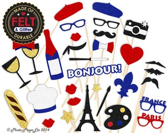 French  Photo Booth Props - Paris Photo Booth - Durable Felt Props