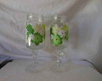 Floral Embellished Hillbilly Wine Glasses