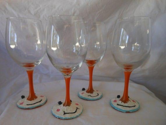 Snowman Wine Glasses by BlingGlitterandGems on Etsy