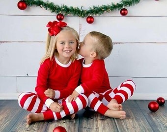 Christmas Pajamas! Red & White Stripe