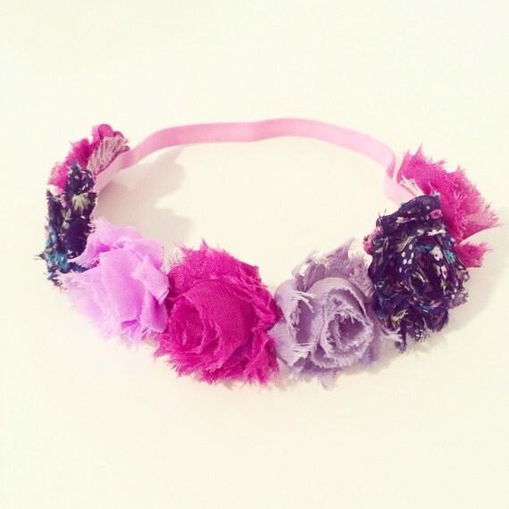 Raspberry Flower Crown Headband   Raspberry Plum Orchid + Navy Blue Flower Crown Headband for Baby Toddlers Girls + Adults, Flower Crown