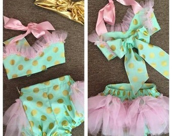 Mint and Gold Smash Cake Outfit