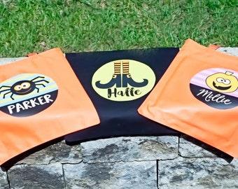 Skeleton Personalized Halloween Bag, Kids Halloween Tote Bag, Halloween Bucket, Personalized Halloween Bag, Halloween Candy Bucket