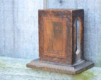 Vintage Wooden Matchbox Holder Holder for Matches Vintage Smoking Vintage Tobacciano with a lovely Rabbit design