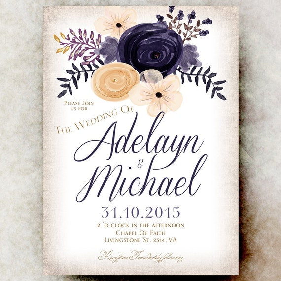 Gold And Blue Wedding Invitations: Gold Blue Wedding Invitation Floral Wedding Invitation