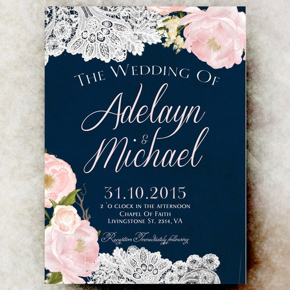 Navy Blue Blush Pink Wedding Invitation By