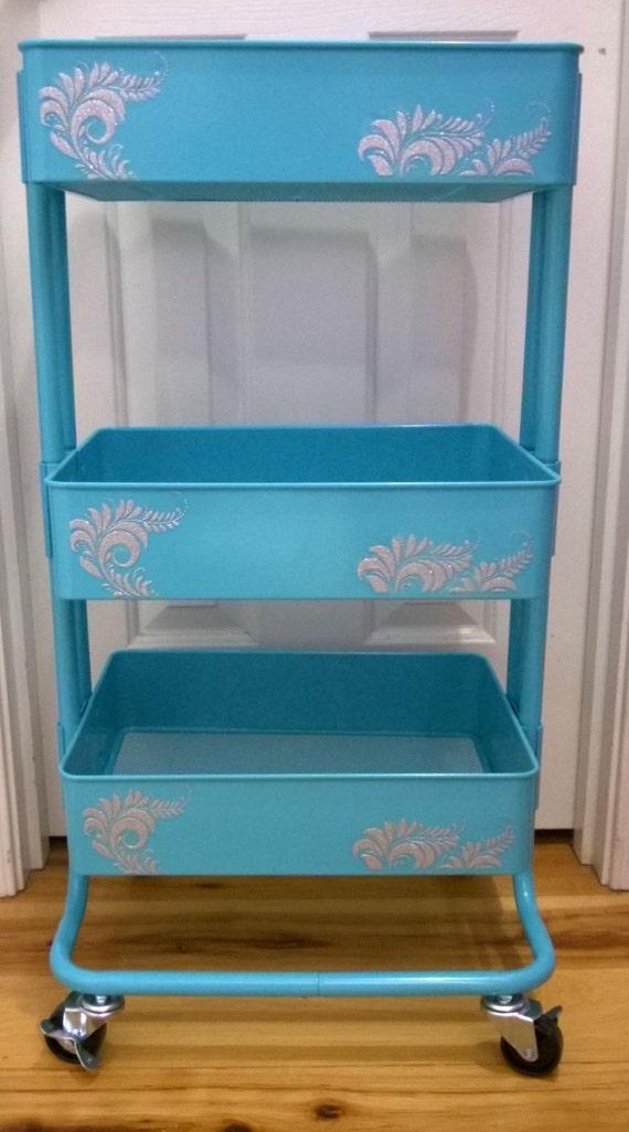 Ikea 3 Tier Aqua Blue Metal Rolling Utility Nursery Kitchen