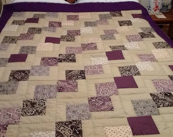 "Downton Abbey Dowager Countess Hand quilted Lavender Beige Purple Full/Twin size 58""x72"""