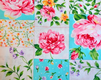 Rose parade by Moda Fabric Quilt cotton destash oop htf japanese fabric floral large roses vibrant color patchwork cheater cloth 1/2 yard