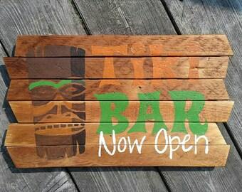 Tiki Bar Now Open painting on reclaimed wood sign - tiki bar - wood art - handmade - made in USA