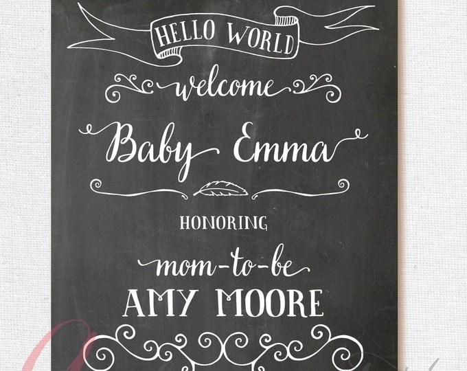 Welcome Baby Shower Sign. Chalkboard Welcome sign. Printable chalkboard poster. Chalkboard babyshower sign. Welcome babyshower chalkboard