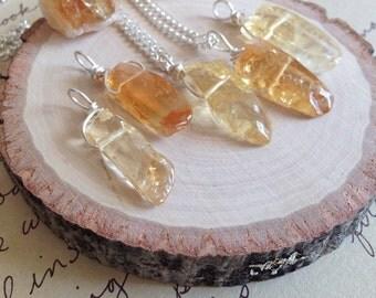 Citrine Necklace - Citrine - Citrine Jewelry -Crystal Necklace - Success Stone Necklace - Raw Crystal Necklace