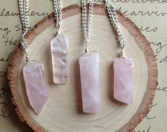 Rose Quartz Necklace-Crystal Necklace-Pink Quartz Necklace-Healing Necklace-Rose Quartz Jewelry - Layering Necklace