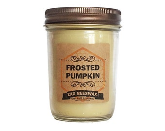 Frosted Pumpkin Scented Beeswax Mason Jar Candle | 8 oz