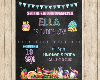 Shopkins Birthday Invite Girls Birthday Invite