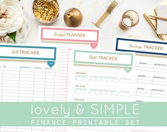 FINANCE PRINTABLE SET - Budget Planner, Bill Tracker, Savings Tracker & Debt Tracker - 12 Months