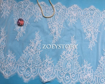 BIG sales Chantilly Lace Trim, Table Runner Lace, Bilateral French Style Soft Lace Trim, Off White, Width 38cm x 3 Meters
