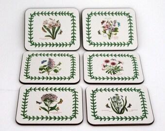 Botanical Coasters, Coasters with Flowers, Portmeirion Coasters by Jason, New Zealand  Set of Six