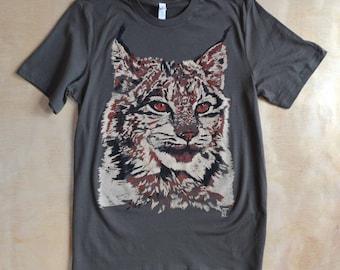 Jeri's Lynx - Navy/Amazonite HAND DRAWN Screen Print T-Shirt