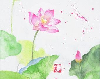 Watercolor Flower Painting, Watercolor In Handmade, Original Flower Painting, Lotus Painting