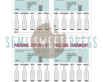 Printable Score Cards for Wine Tasting Party