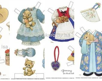 Vintage paper dolls, ebook Pattern, Instant Download, PDF (RM060)