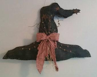 Primitive Black Halloween Witches Hat Hand Sewn Door Hanger