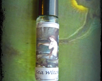 Sea Witch pagan perfume oil, mystical elemental perfume oil 10ml roll on, wild woman, essential oils, resins & absolutes