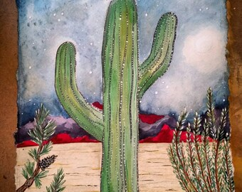 Magic Moon, Magpie, Desert, Pine, Sagebrush, New Mexico, original watercolor painting, constellation, high desert, landscape
