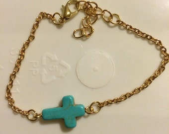 Turquoise cross bracelet, 14 kt goldfilled,