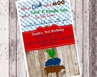 Farmer Boy Birthday Invitation