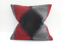 Tribal pillow cover, Southwest pillow cover, Tribal pillow in burgundy and Black