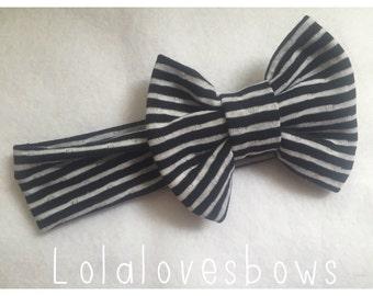 Black & white stripes Bow wrap