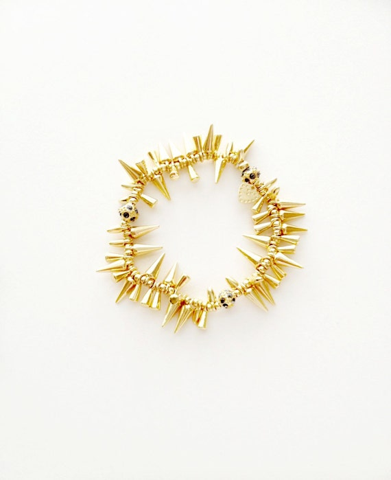 Gold Cluster Spike Stretch Bracelet
