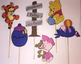 Baby Winnie The Pooh centerpiece cut outs - Baby Winnie the Pooh - Winnie  the Pooh baby shower - Winnie the Pooh and friends