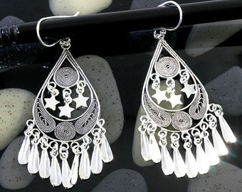 Filigran earrings 925 sterling silver  --  3520