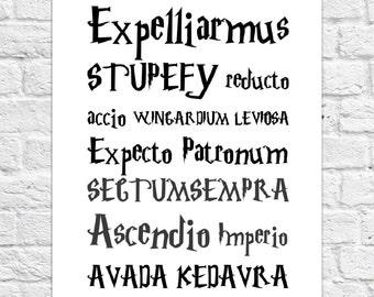 Harry Potter Magical Spells - Poster/Art Print - A4 Size