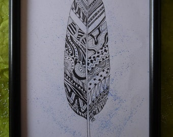 Original patterned 'Lone Feather' pen and ink drawing