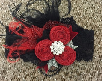 Red and Black headband Christmas
